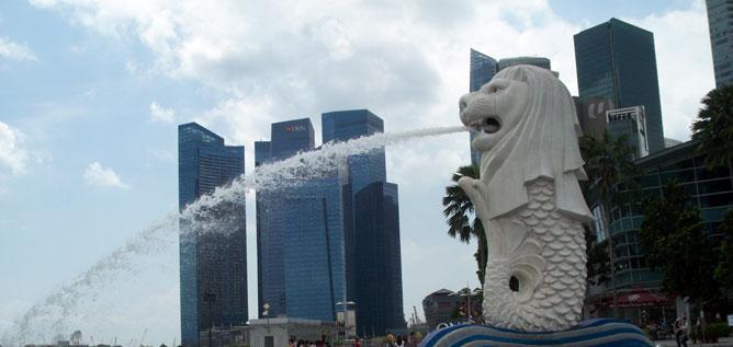 Das Symbol von Singapur der Löwe mit Fischschwanz